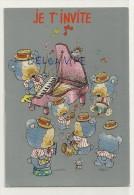 Invitation. Orchestre D' Oursons Humanisés. Piano, Saxo, Tambour. Souris. Signée Giordano - Fêtes - Voeux
