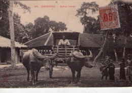 Cambodge.. Tonkin.. Animée Buffles Attelés Attelage De Buffles