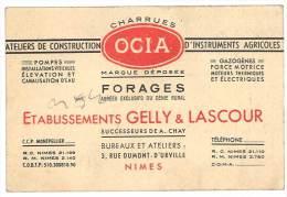 Carte Commerciale : Charrues, Forages Etablissements Gelly & Lascour, Nimes - Autres Collections