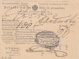 Romania - Campulung Moldovenesc - Bilet De Prezentare Pentru Mandat Postal - Bukowina 1896 - Fatture & Documenti Commerciali