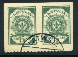 LETTLAND Latvia 1919 Michel 5 B In Pair Unten Gezähnt 9 3/4 O - Latvia