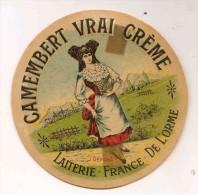 ETIQUETTE DE FROMAGE Camembert Vrai Crème Laiterie France De L'orme - Cheese