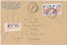 AS24      MONANTOLA (MO)  1986: Coppia Castelli Caldoresco Di Vasto  £. 1400  Raccomandata - 1981-90: Storia Postale