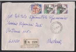 AS25      BORGOFORTE (MN)  1986 Coppia Castelli £.1000 + Castelli  £. 1400  Raccomandata - 1981-90: Storia Postale