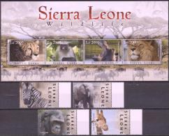 Sierra Leone 2009 - MNH - Cheetah, Chimp, Elephants, Giraf, Hippo, Lion, Monkey, Zebra - Francobolli
