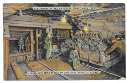Anthracite Coal Mining Region PA Miners Loading Car On Cage Vintage Linen Postcard - United States