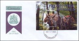 Grenada 2003 Souvenir Sheet Dinosaurs Prehistoric #3389 Triceratops First Day Cover - Grenada (1974-...)