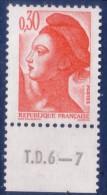Liberté De Gandon : 0,30 Orange (n°2182) Avec Numéro De Presse TD6-7 - 1982-90 Liberté De Gandon