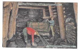 Anthracite Coal Mining Region PA Miners Loading Coal Vintage Linen Postcard - United States