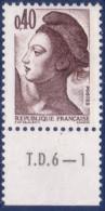Liberté De Gandon : 0,40 Brun Foncé (n°2183) Avec Numéro De Presse TD6-1 - 1982-90 Liberté De Gandon