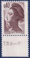 Liberté De Gandon : 0,40 Brun Foncé (n°2183) Avec Numéro De Presse TD6-7 - 1982-90 Liberté De Gandon