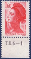 Liberté De Gandon : 1,60 Rouge (n°2187) Avec Numéro De Presse TD6-1 - 1982-90 Liberté De Gandon