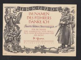 Dt. Reich Urkunde Spende Zur Sammlung Woll-, Pelz- Und Wintersachen Für Die Front Göbbels - Diplome Und Schulzeugnisse