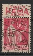 Timbre à Bande Publicitaire Type Paix 50c Rouge Type I N° 283. Pub Publicité Réclame Carnet - Werbung