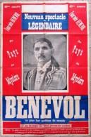 "GRANDE AFFICHE RARE DE 1920 "" BENEVOL OU LE COUPEUR DE T�TES "" MAGIE - RARE MAGIC POSTER - ILLUSIONISME - ILLUSIONIST"