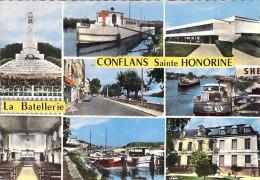 78 - CONFLANS STE HONORINE : La Batellerie - CPSM Dentelée Colorisée GF 1968 - Yvelines ( Barge Lastkähne Aken Chiatte ) - Conflans Saint Honorine