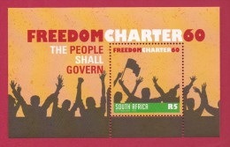 SOUTH AFRICA, 2015, Mint Never Hinged Block , Miniature  Sheet, Freedom Charter 60,   #9050 - Unused Stamps