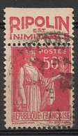 Timbre à Bande Publicitaire Type Paix II 50c Rouge N° 283. Pub Publicité Réclame Carnet - Publicités