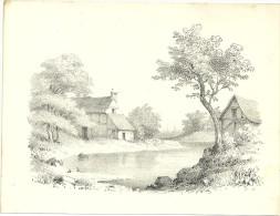Gravure Lithographie étang Et Maisons Anciennes Verlag Wilhelm Hermes Berlin - Estampes & Gravures