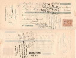 FRANCE Avec 1 Timbre Fiscal MANDAT Ets CAMBON 24 Janvier 1924 => St André De Sangonis (Hérault) - Revenue Stamps