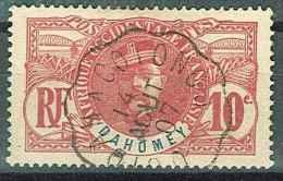 OBLITERATION (CHEMIN DE FER) OUIDAH A COTONOU 14.08.1907 YVERT DAHOMEY 22 GENERAL FAIDHERBE - Dahomey (1899-1944)