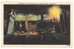 Scranton PA Anthracite Coal Mine Entrance Cart Elevators Vintage Linen Postcard - United States