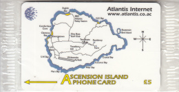 ASCENSION ISL.(GPT) - Map Of Ascension, Atlantis Internet, CN : 324CASA, Tirage 2000, Mint - Ascension