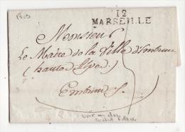 13  Pli Avec Marque Postale   MARSEILLE    1809    Au Dos Cachet Police De Marseille - Postmark Collection (Covers)