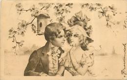 DOLCI PAROLE IN GIARDINO... RAFFINATA CARTOLINA VIAGGIATA DEL 1902 - San Valentino