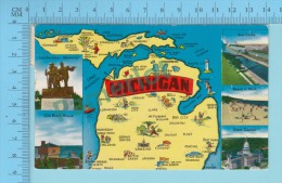 Maps, Cartes Géographiques - MICHIGAN  ( State Of Michigan  Map 1958, 2 Scans - Cartes Géographiques