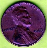 1963 Stati Uniti - 1 Cent. (circolato) - 1959-…: Lincoln, Memorial Reverse