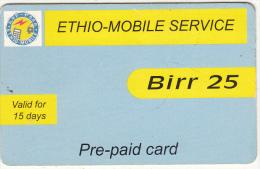ETHIOPIA - ETC Prepaid Card 25 Birr, Exp.date 31/10/08, Used