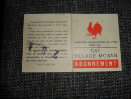 ANCIEN ABONNEMENT / GAY VILLAGE MOSAN / EXPO INTERN. DE L'EAU LIEGE 1939 - Obj. 'Souvenir De'