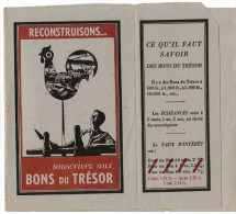PROTEGE LIVRE RECONSTRUISONS SOUSCRIVEZ AUX BONS DE TRESOR MINISTERE DES FINANCES SERVICE DE PROPAGANDE - Protège-cahiers
