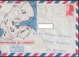 REUNION - Lettre DJIBOUTI 1986 Affranchie Avec Cachet Poste Aux Armées - ENV43 - Reunion Island (1852-1975)