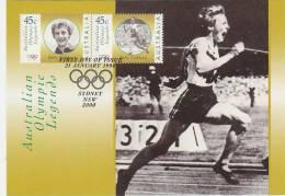 Australia-1998 Olympic Legends Betty Cuthbert  Gold Medal 1956 Melbourne Games   Maximum Card - Maximumkaarten