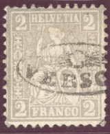 Heimat TI Verscio Ca. 1870 Strahlenstempel Auf 2Rp. Grau Sitzende Helvetia - Oblitérés