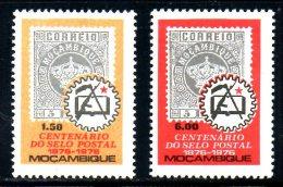 MOZAMBIQUE. N°610-1 De 1976. Centenaire Du Timbre. - Stamps On Stamps