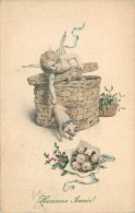 ANGELOT ET COCHON - Heureuse Année, Carte Style Vienne. - Anges