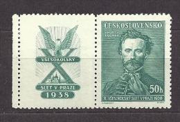 Czechoslovakia Tschechoslowakei 1938 MNH ** Mi 395 Zf Links X.Allslawischen Sokolspielen In Prag Coupon Left - Ungebraucht