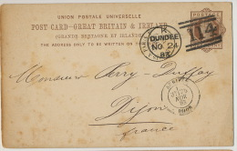 Entier Postal Dundee 1883 No 114 To Dijon France Pub Polack And Co Telegrams - Entiers Postaux