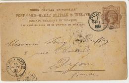 Entier Postal Dundee 1886  To Dijon France Pub Polack And Co Telegrams Cachet Train Calais A Paris - Entiers Postaux