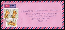 Uganda: Airmail Cover Gulu To England, 2002, 3 Stamps, Membraphone Drums, Music Instrument (minor Damage) - Ouganda (1962-...)