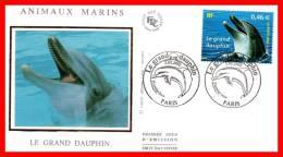 """FDC En Soie De 2002 N° YT 3486 """" GRAND DAUPHIN """" En PARFAIT état - Dolphins"""