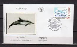 """MONACO FDC En Soie De 2002 N° YT 2342 """" ACCOBAMS / DAUPHIN """" En PARFAIT état ! - Dolphins"""