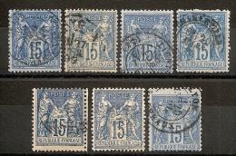 SELECTION 7 SAGE 15C Pour PIQUAGES, NUANCES Et CENTRAGE. BON LOT ! - 1876-1898 Sage (Type II)