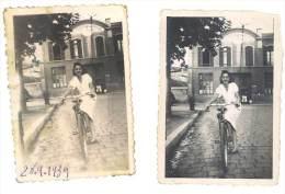 2 Photos Amateurs, Vélos, Cyclisme, Femme Devant Cie Française Des Métaux, Rue De La Conception, Marseille ? - Cyclisme