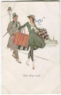 Arnaud Art Deco Mode Femme élégante Avec Vieux Monsieur Env. 1912 Couleurs - Non Classificati