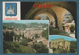 07-LARGENTIERE-Multivues-lot De 2 Cartes-blasons, Voitures,divers Aspects De La Ville- Non écrite -4 Scans- 10.5 X 15 - - Cartoline