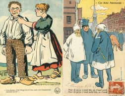 Lot De 2 Cpa  Fantaisie Ces Bons Normands    Illustrateur E.H.Galry - Folklore